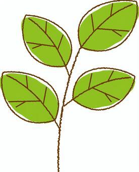 손으로 그린 바람 나뭇잎