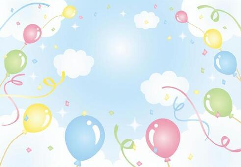天空和氣球和五彩紙屑和磁帶