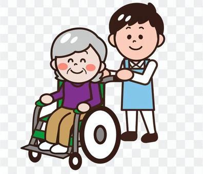 照顧者推輪椅(男)