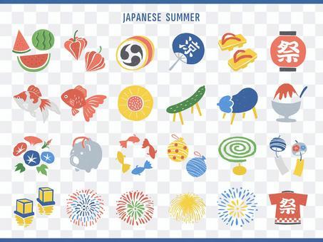 夏季節日和盂蘭盆圖標插圖集