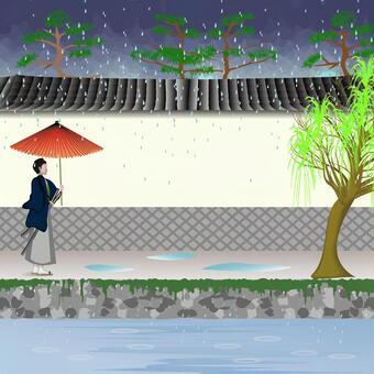 城下町 白壁 壁 川 風情 侍 雨 傘