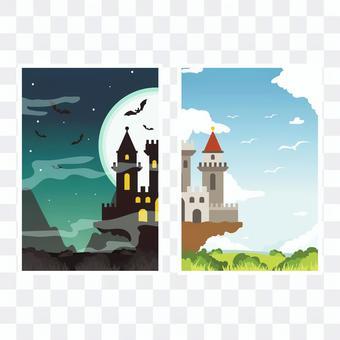 お城のカードテンプレート
