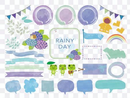 雨季季節插圖素材集