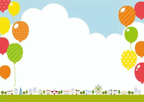 Background material for cityscape and balloons
