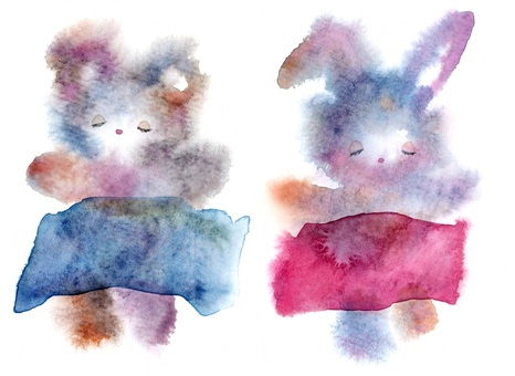Rabbit taking a nap and teddy bear transparent watercolor