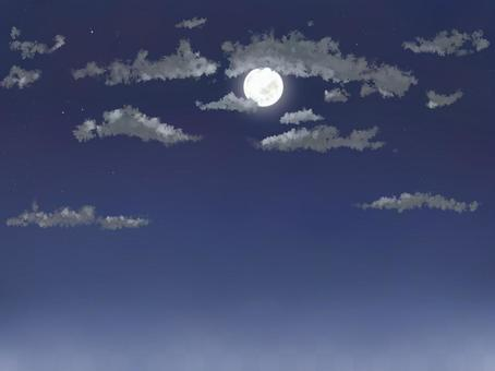 Moonlit night with clouds, full moon