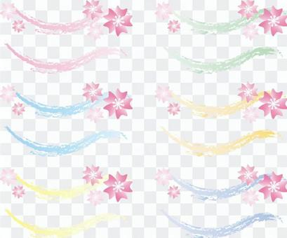 Pastel color line and cherry blossoms