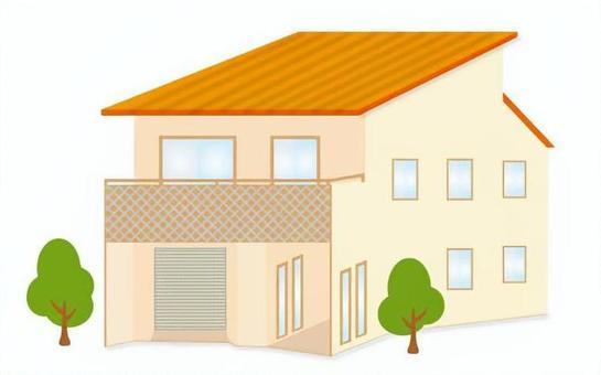 Orange roof house