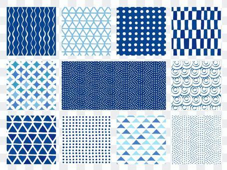 Handwritten style Japanese pattern background set (blue)