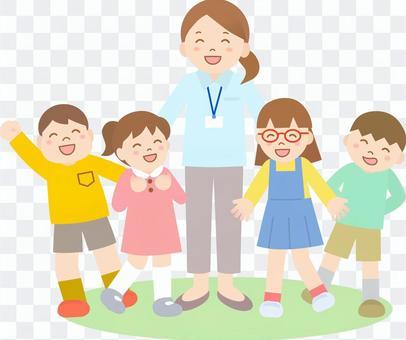 老師和孩子們沒有線
