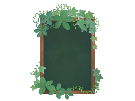 用樹葉裝飾的黑板