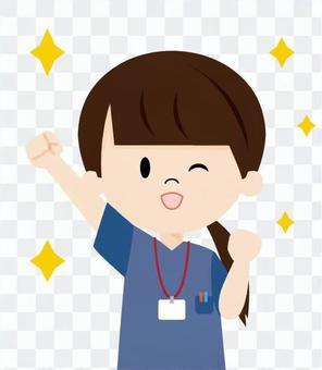 介護士(ガッツポーズ)