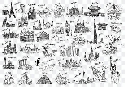 World landmark illustration