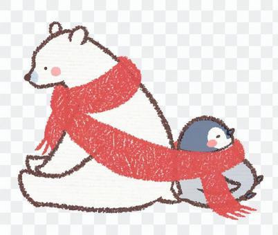 Polar bear and penguin chick muffler