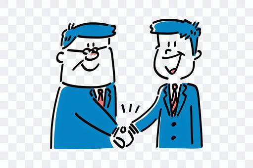ビジネスマン-商談成立握手