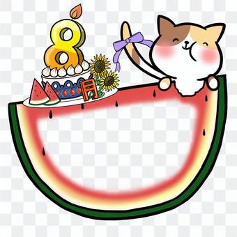 生日蛋糕8月框架記事本