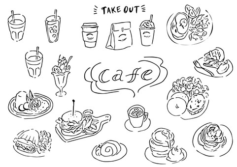 Cafe / coffee shop material collection (black and white)
