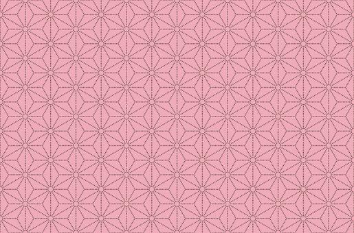 [Japanese pattern] Hemp leaf dot connecting pink