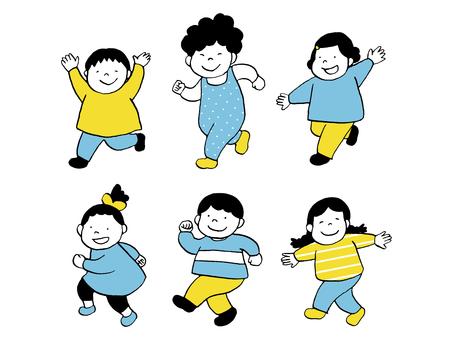 精力充沛的孩子們跑步