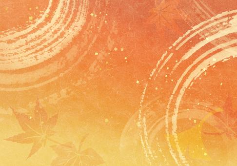 水・紅葉・秋イメージ水彩背景 橙 黃色