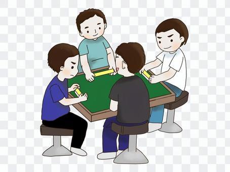 麻雀をする男性4人