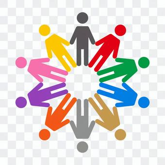 Colorful circle of people