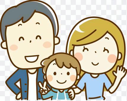 一个微笑的三口之家的家庭
