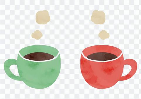 手繪咖啡夫婦圖