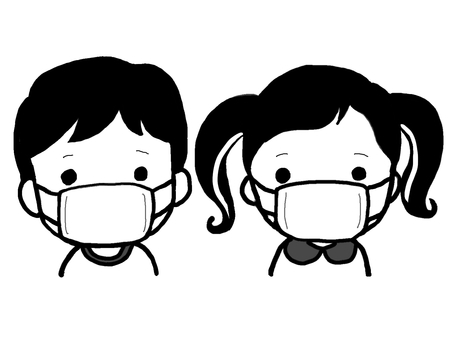 Black and white illustrations of boys and girls wearing masks