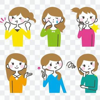 女性的面部表情設置2