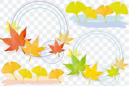 秋天的落葉和秋天的材料
