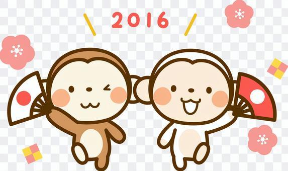 White monkey and brown monkey