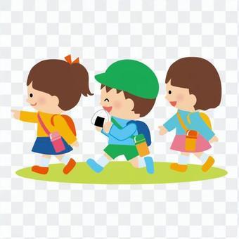 孩子們外出郊遊