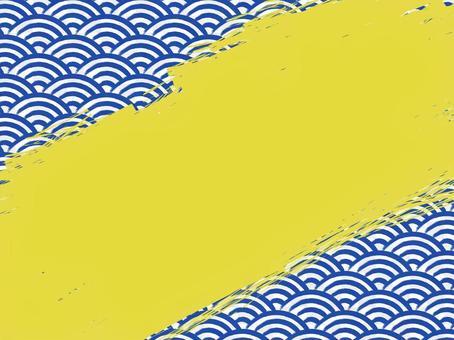 毛筆書寫青海波浪填充背景:對角線:靛藍x金