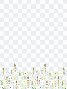 手描き 春の野原(つくし)のフレーム