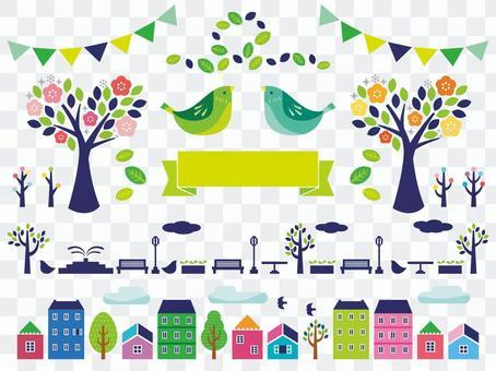 城市景觀和植物插圖