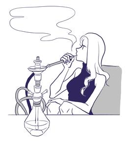 抽水煙的女人