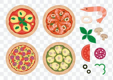 四種披薩和食材套裝
