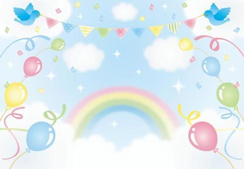 天空,彩虹和氣球的插圖