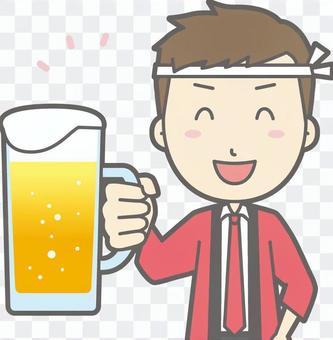 男性幸福 - 啤酒微笑 - 胸圍