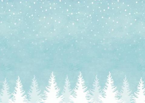 冬天背景框架007森林雪水彩