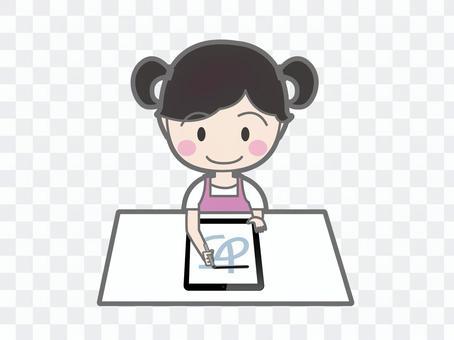 練習字符在平板電腦上的女孩