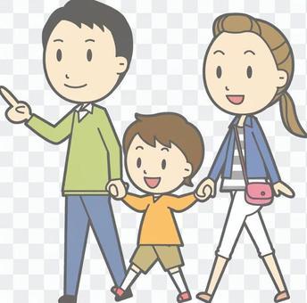 3步行全身的家庭