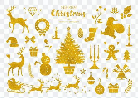 冬のシルエットイラスト クリスマス 金色