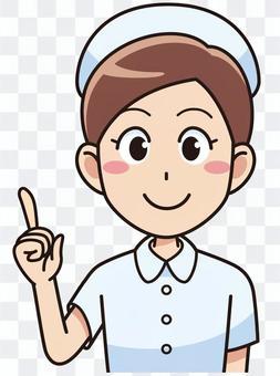 一名女護士指著一個手指