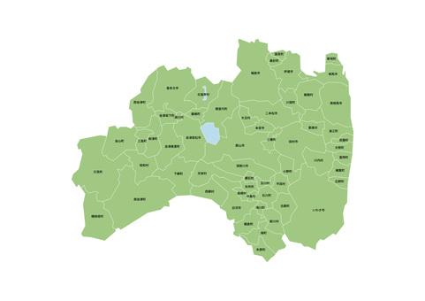 帶有市鎮名稱的福島縣地圖