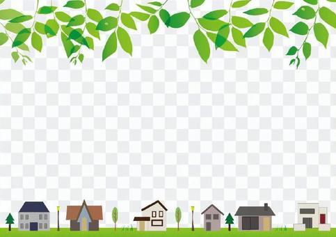 House and fresh green frame