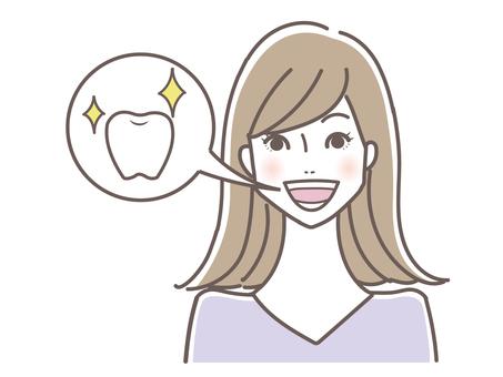 Woman with shining healthy teeth