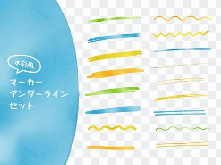 下劃線標記水彩畫集