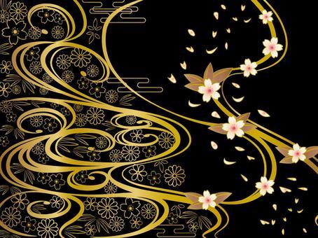 日本圖案背景黑色和金色的波浪